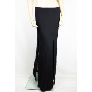 Maxi Skirt Bottoms Front Bottom Slit Full Long